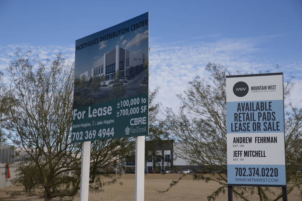A lease sign at the Northgate Distribution Center in North Las Vegas, Wednesday, Jan. 3, 2018. Erik Verduzco/Las Vegas Review-Journal