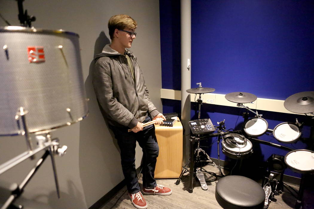 Steven McEntire, 16, talks about the technology available to him on Tuesday, Jan. 2, 2018, at the Clark County Library's Teen Tech Center which gives kids access to high-tech electronics an ...