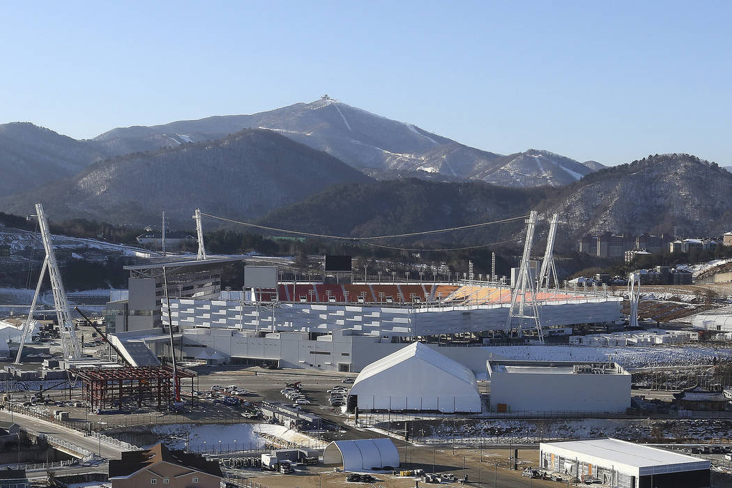In this Dec. 12, 2017, photo, Pyeongchang Olympic Stadium is seen in Pyeongchang, South Korea.  (AP Photo/Ahn Young-joon)