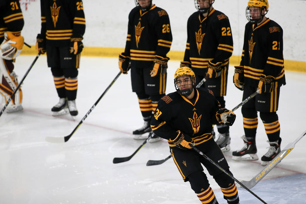 Dominic Garcia skates during a non-conference matchup between ASU and Holy Cross on Nov. 24, 2017, at Hart Center, Worcester, Massachusetts.  Photo courtesy of Arizona State.