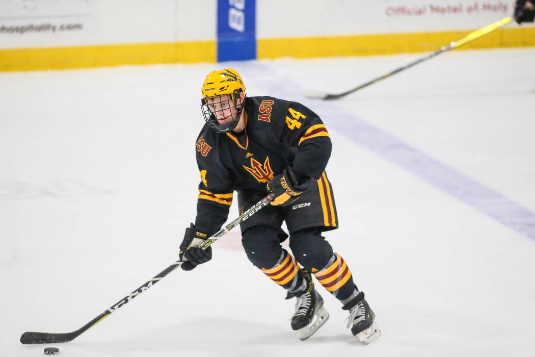 Las Vegas native Joey Raats skates during a non-conference matchup between ASU and Holy Cross on Nov. 25, 2017, at Hart Center, Worcester, Massachusetts.  Photo courtesy of Arizona State.