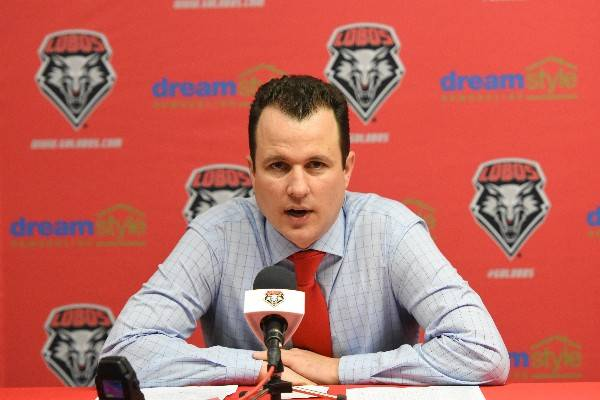 New Mexico basketball coach Paul Weir addresses the media. Photo courtesy of University New Mexico athletics.
