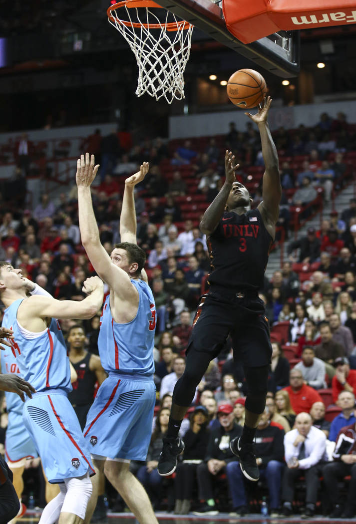UNLV Rebels guard Amauri Hardy (3) goes up for a shot against New Mexico Lobos during a basketball game at Thomas & Mack Center in Las Vegas on Wednesday, Jan. 17, 2018. New Mexico won 85-81.  ...