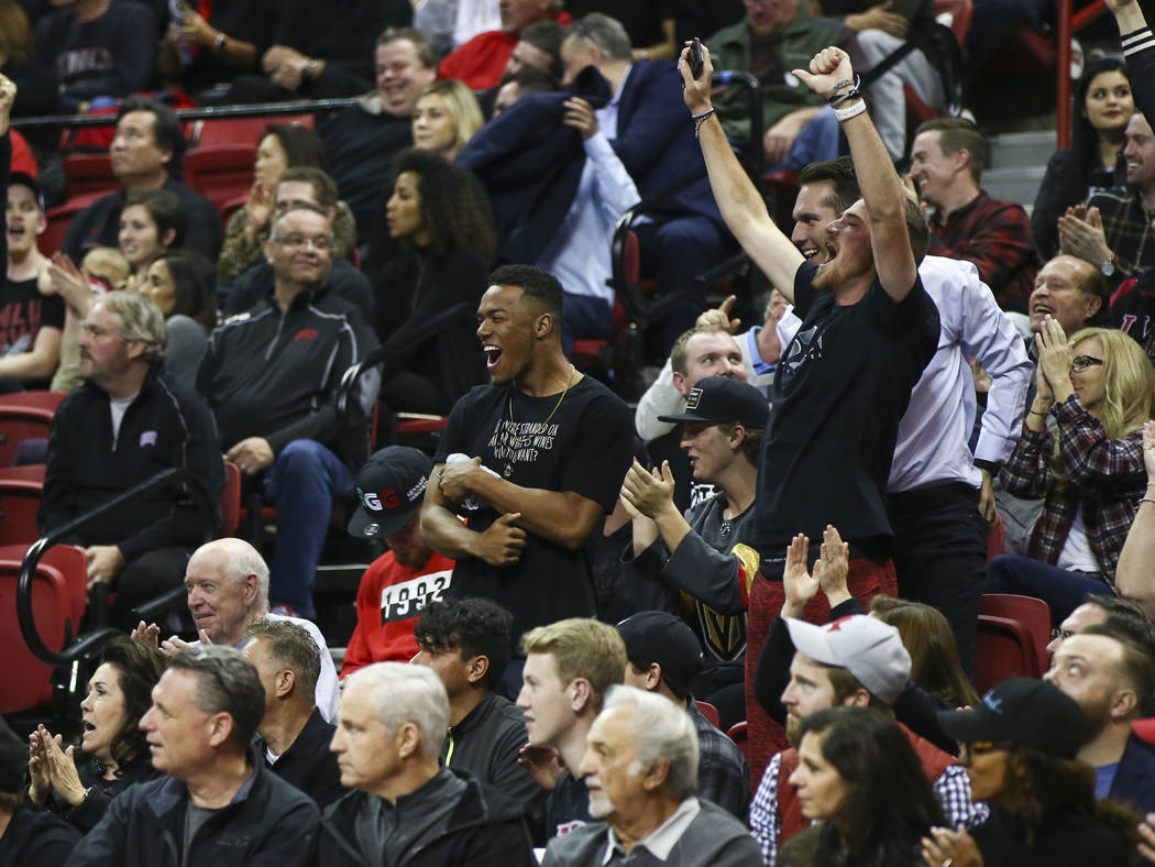 UNLV Rebels fans cheer during a basketball game against the New Mexico Lobos at Thomas & Mack Center in Las Vegas on Wednesday, Jan. 17, 2018. New Mexico won 85-81. Chase Stevens Las Vegas Rev ...