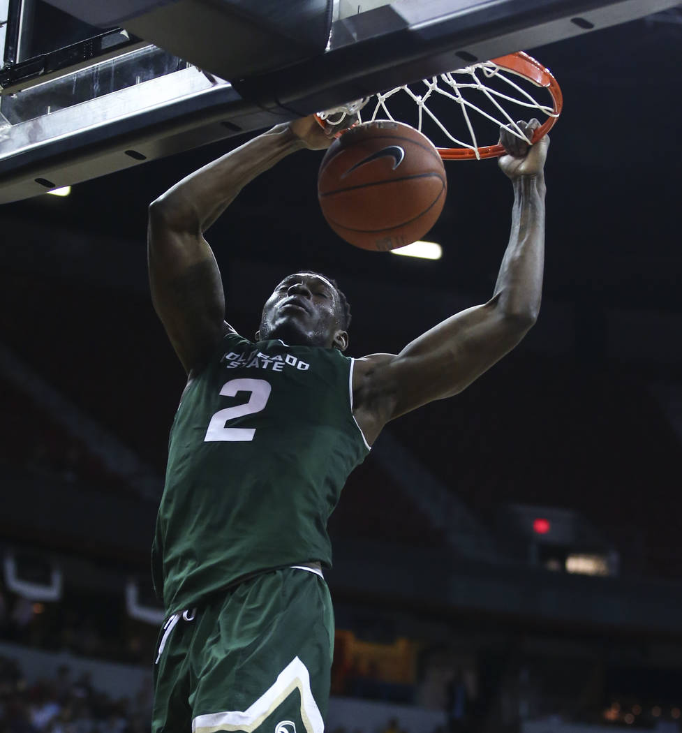 Colorado State forward Emmanuel Omogbo (2) dunks against UNR during the Mountain West Conference basketball championship game at the Thomas & Mack Center in Las Vegas on Saturday, March 11, 20 ...