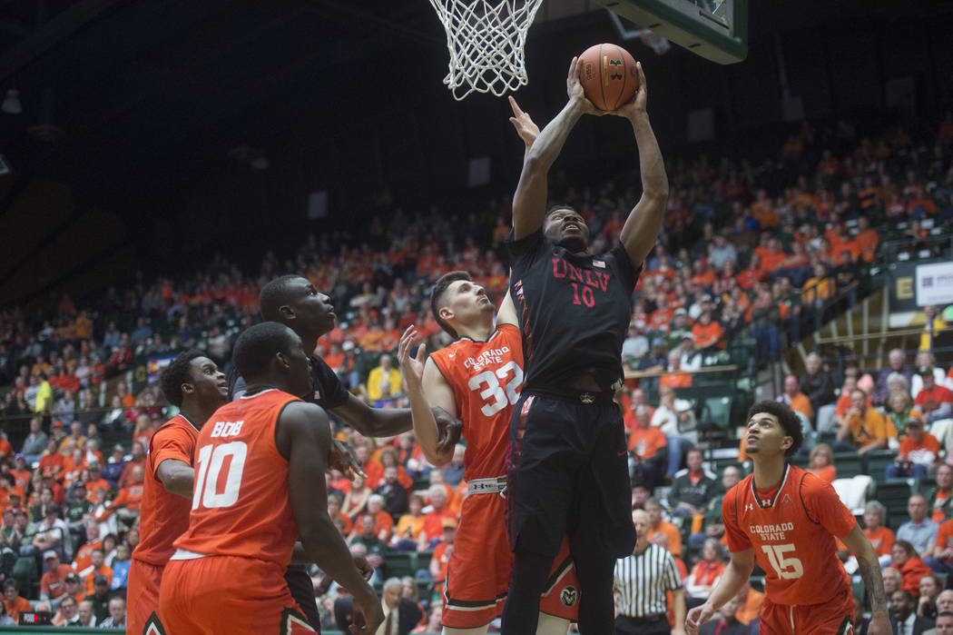 UNLV forward Shakur Juiston shoots against Colorado State during an NCAA college basketball game Saturday, Jan. 20, 2018, in Fort Collins, Colo. (Austin Humphreys/The Coloradoan via AP)