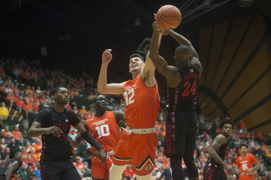 Colorado State center Nico Carvacho and UNLV guard Jordan Johnson, right, jump for the ball during an NCAA college basketball game Saturday, Jan. 20, 2018, in Fort Collins, Colo. (Austin Humphreys ...