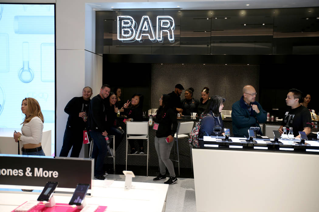 The bar on opening night of the T-Mobile store on the Strip Thursday, Jan. 4, 2018. It is located inside the Showcase Mall, near the intersection of Las Vegas Boulevard and Tropicana Avenue. K.M.  ...