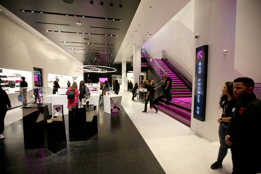 The T-Mobile store on the Strip on opening night Thursday, Jan. 4, 2018. It is located inside the Showcase Mall, near the intersection of Las Vegas Boulevard and Tropicana Avenue. K.M. Cannon Las  ...