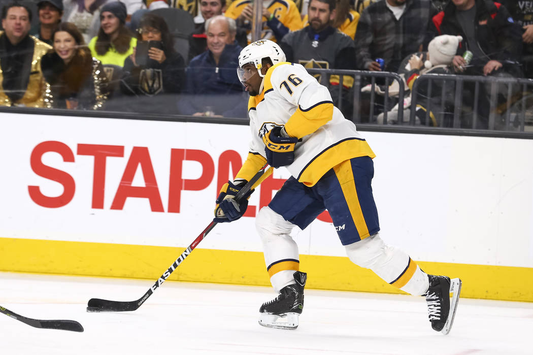 Nashville Predators defenseman P.K. Subban (76) controls the puck during the third period of an NHL hockey game between the Vegas Golden Knights and the Nashville Predators at the T-Mobile Arena i ...