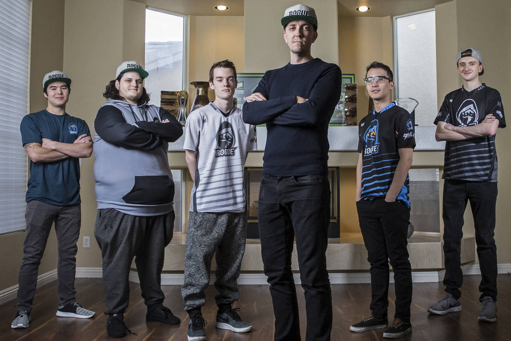 Rogue team members Sean Mulryan, general manager, Frank Villarreal, co-founder/president, Colin Wentworth, professional VainGlory player, Derek Nelson, co-founder/ CEO, Brian Thomas, head of playe ...