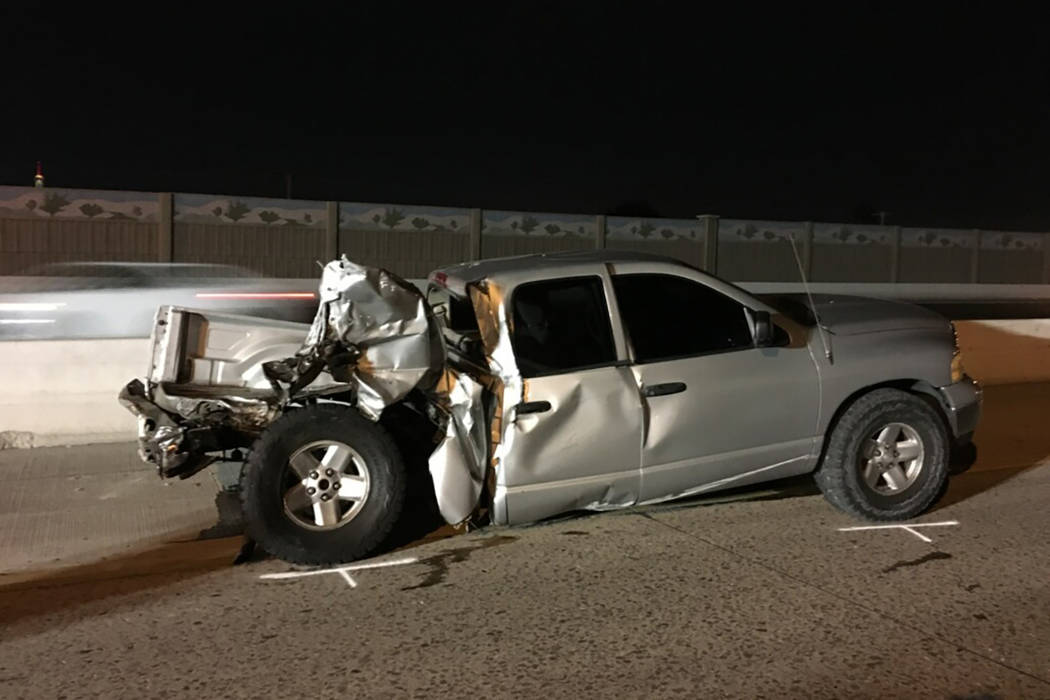 A Henderson man died after rear-ending a suspected drunken driver's pickup stopped in the middle of U.S. Highway 95, the Nevada Highway Patrol said Tuesday, Jan. 2, 2017. (Nevada Highway Patrol)