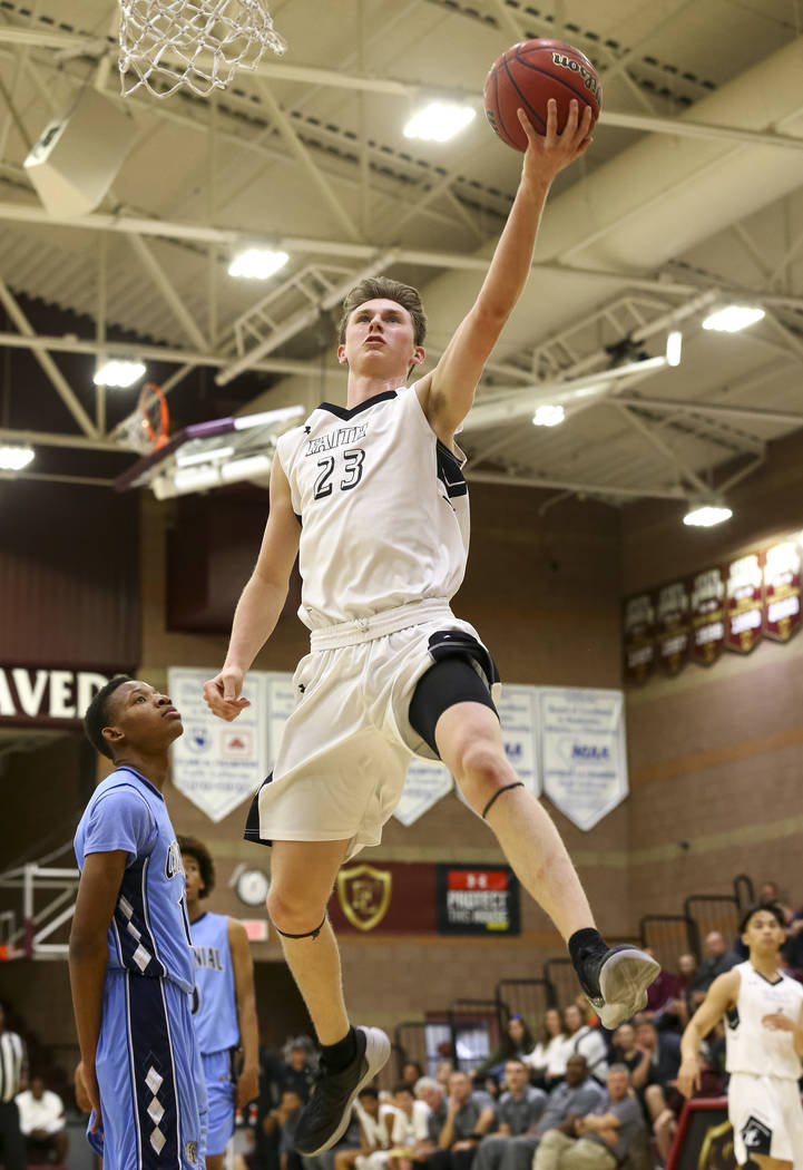 Faith Lutheran's Parker Kanne (4) goes up for a shot against Centennial during a high school basketball game at Faith Lutheran on Friday, Jan. 5, 2018, in Las Vegas Richard Brian Las Vegas Review- ...