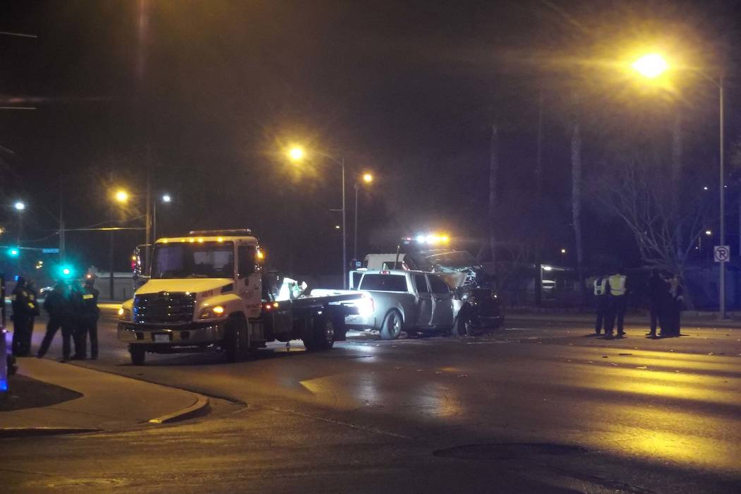 One man was killed and a woman and a child were injured in a two-vehicle crash at East Lake Mead Boulevard and Statz Street in North Las Vegas, Wednesday, Jan. 3, 2018. (Max Michor/Las Vegas Revie ...