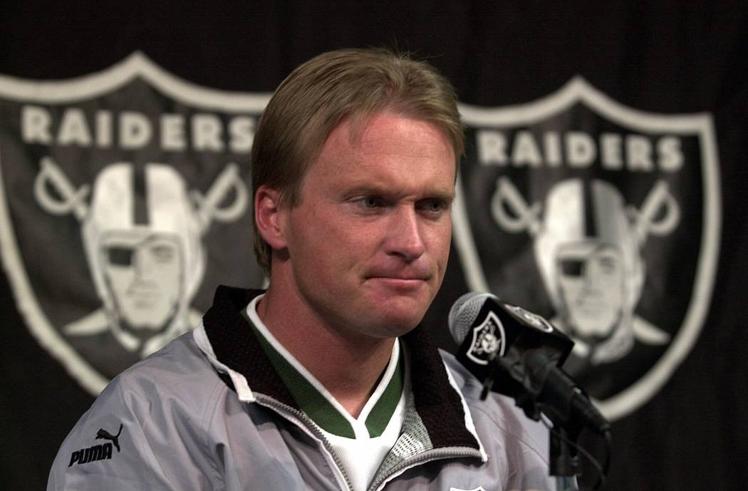 Oakland Raiders' coach Jon Gruden keeps a stiff upper lip during a media conference Monday, Jan. 8, 2001, at Raider headquarters in Alameda, Calif. (AP Photo/Ben Margot)