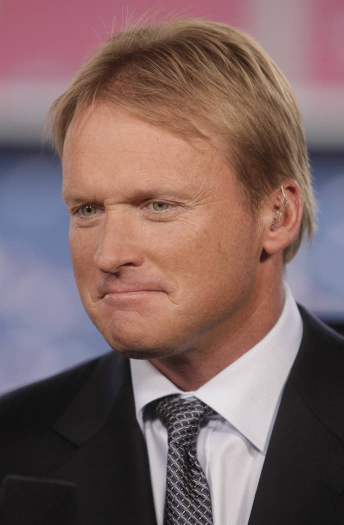 ESPN Monday Night Football broadcaster Jon Gruden is seen before an NFL game in Foxborough, Mass., in 2009. (AP Photo/Steven Senne, File)
