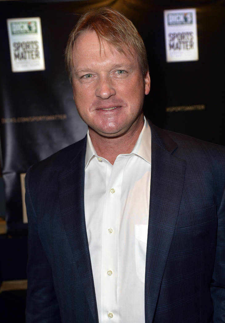 "Professional football analyst Jon Gruden is seen at the DICK'S Sporting Goods Foundation ""Sports Matter"" launch party during SXSW in Austin, Texas Saturday, March 8, 2014. (Photo by Jack Dempsey/I ..."