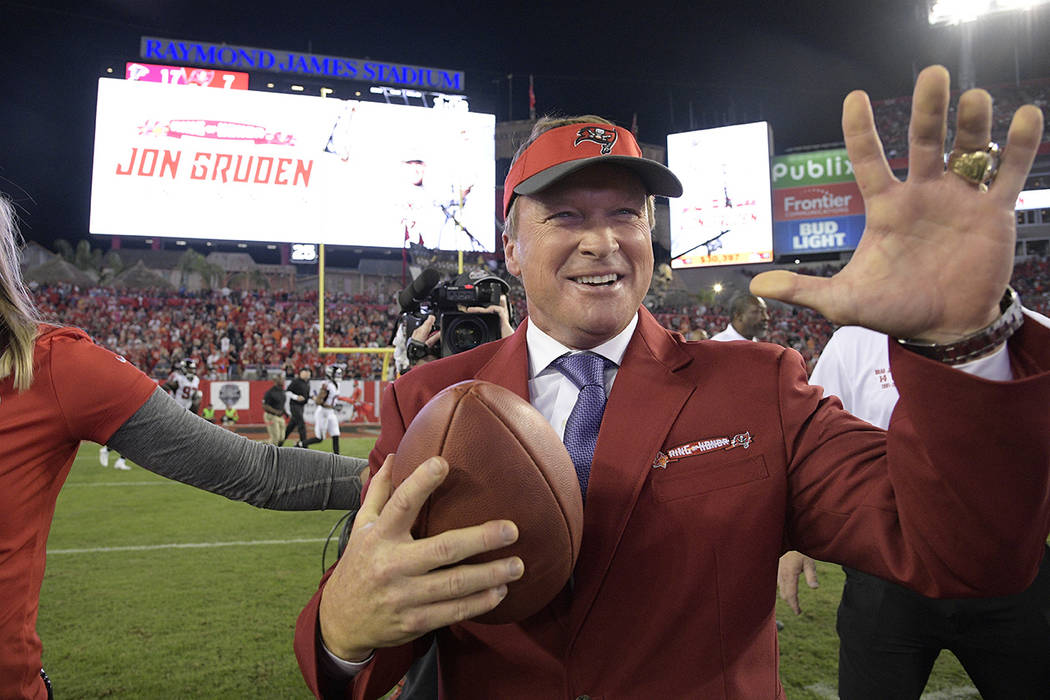 Former Tampa Bay Buccaneers head coach Jon Gruden reacts after being inducted into the Buccaneers Ring of Honor during halftime of an NFL football game against the Atlanta Falcons Monday, Dec. 18, ...