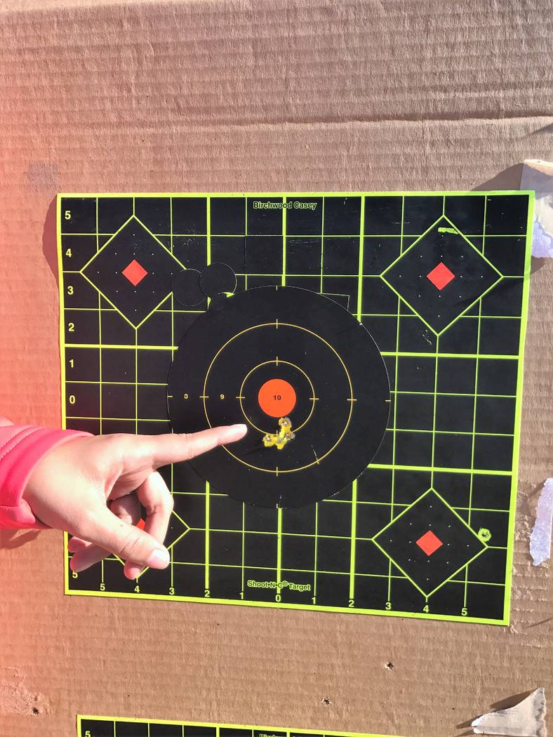When a new shooter and their coach work together, the result can be amazing. Stephanie Nielsen shot this 4-shot group within an hour of starting her shooting career. (Doug Nielsen)