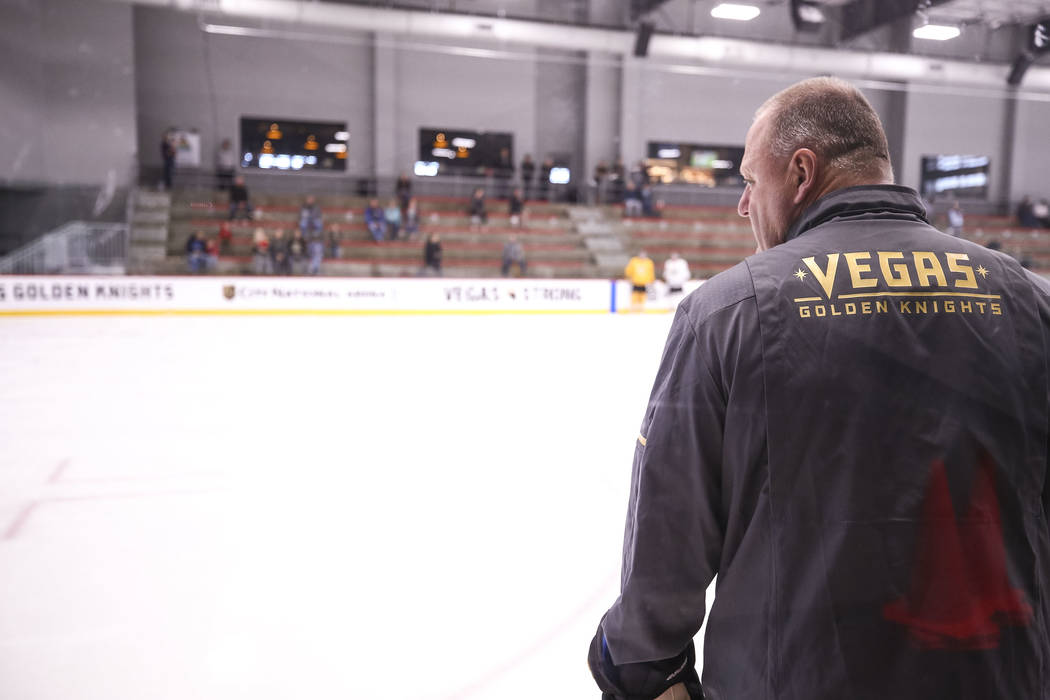 Vegas Golden Knights coach Gerard Gallant watches his players during the NHL team's practice at the City National Arena in Las Vegas, Wednesday, Dec. 6, 2017. Richard Brian Las Vegas Review-Journa ...