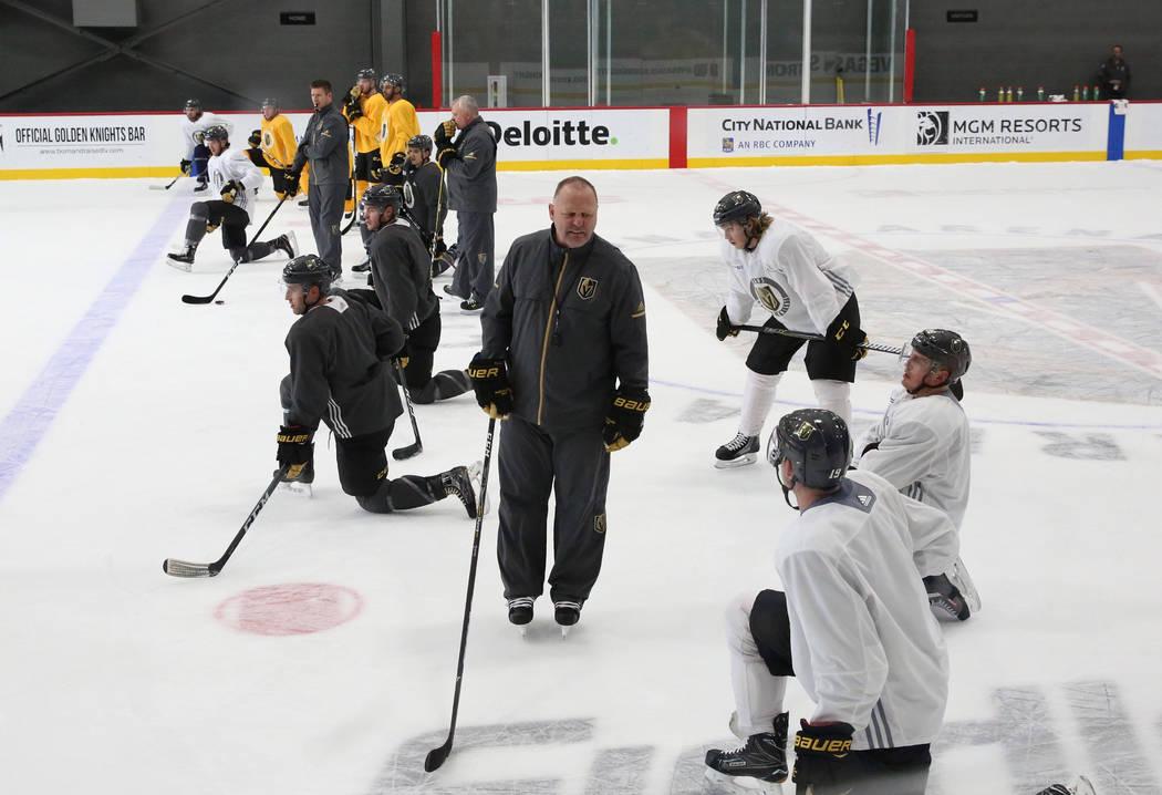 Vegas Golden Knights head coach Gerard Gallant watches his players during team's practice on Monday, Dec. 11, 2017, in Las Vegas. Bizuayehu Tesfaye Las Vegas Review-Journal @bizutesfaye