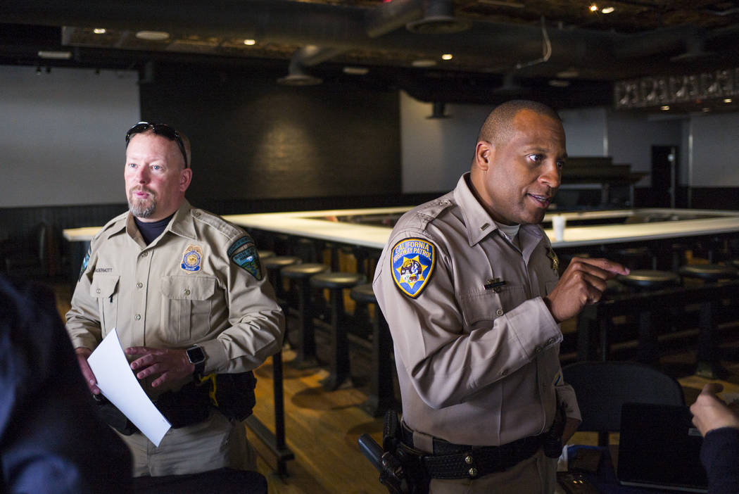 Bureau Of Land Management Ranger Clayton Mcdermott Left And California Highway Patrol Lt David Efferson During The All Clear Law Enforcement Career Fair At Town Square In Las Vegas On Saturday