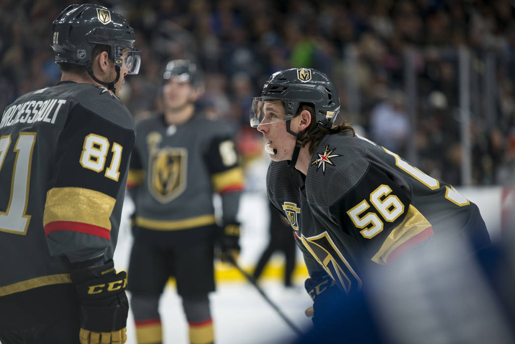 Vegas Golden Knights left wing Erik Haula (56) talks with center Jonathan Marchessault (81) during their home game against the Toronto Maple Leafs at T-Mobile Arena in Las Vegas on Sunday, Decembe ...