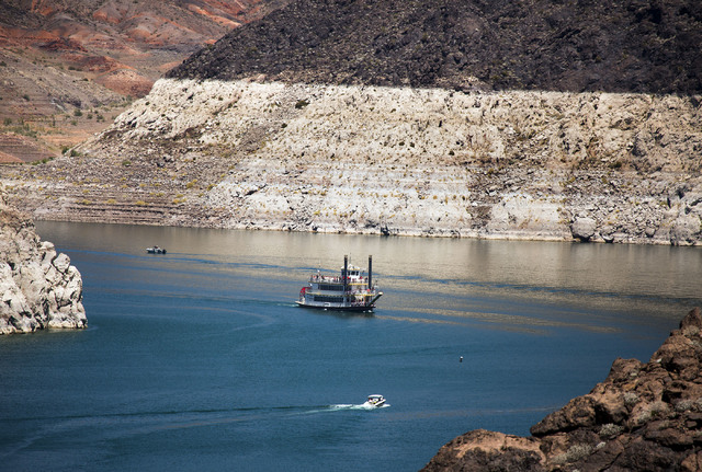 The bathtub ring is seen while the Desert Princess cruises near Hoover Dam on Monday, May, 31, 2016.  Jeff Scheid/Las Vegas Review-Journal Follow @jlscheid