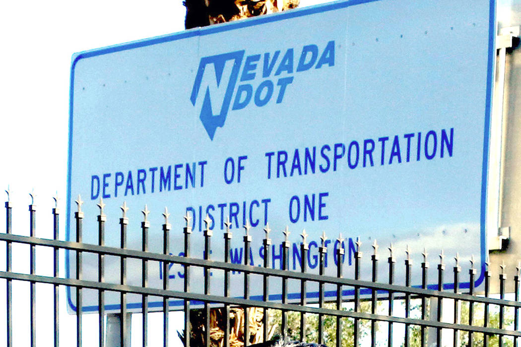 A sign at the Nevada Department of Transportation District One headquarters. (Bizuayehu Tesfaye/Las Vegas Review-Journal) @bizutesfaye