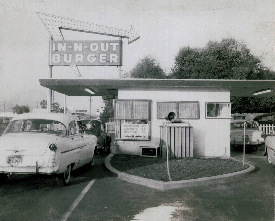 A vintage In-N-Out circa the 1960s, with Hot Chocolate on the menu.