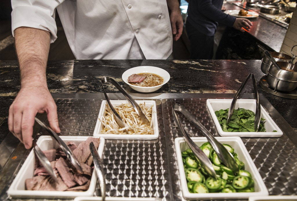 A bowl of beef pho is made at Feast Buffet on Thursday, January 4, 2018, at Santa Fe Station hotel-casino, in Las Vegas. Benjamin Hager Las Vegas Review-Journal @benjaminhphoto