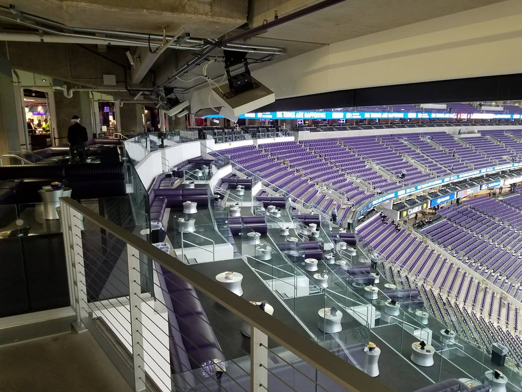 A portion of Mystic Lake's Club Purple at U.S. Bank Stadium in Minneapolis on Dec. 17, 2017, will be converted to media accommodations for the 2018 Super Bowl LII on Feb. 4. Richard N. Velotta/Las ...