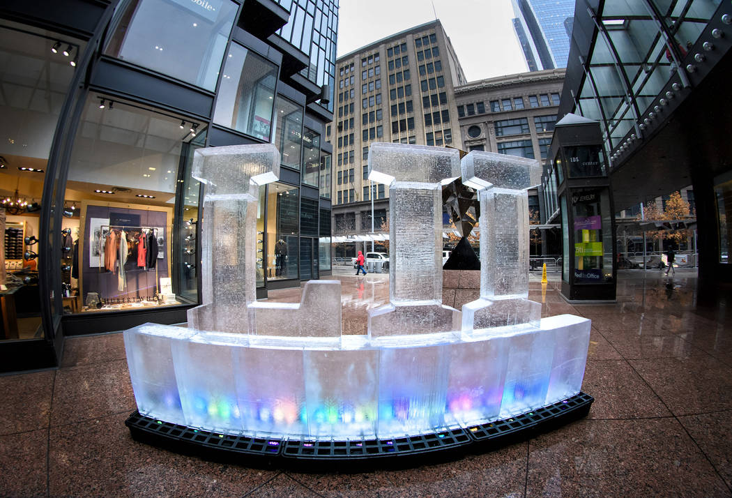 A Superbowl LII ice sculpture outside the IDS Crystal Court 100 days before the Super Bowl .     ] GLEN STUBBE  glen.stubbe@startribune.com Friday, October 27, 2017  A press conference and general ...
