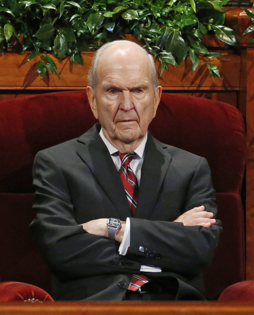 Russell M. Nelson, president of the Quorum of the Twelve Apostles of The Church of Jesus Christ of Latter-day Saints looks on before the start of the two-day Mormon church conference in Salt Lake  ...