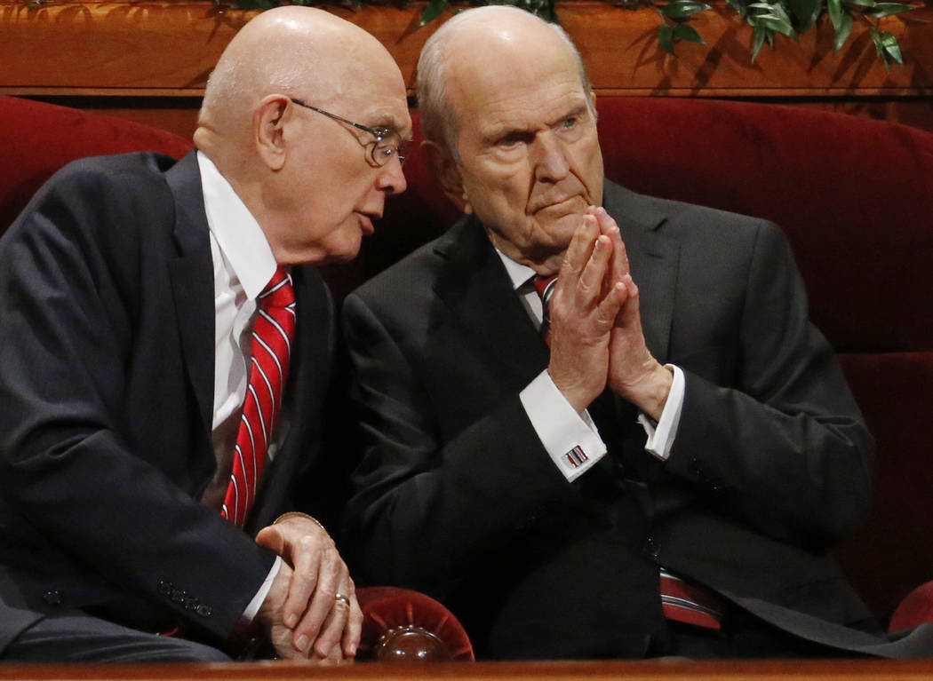 FILE - In this Sept. 30, 2017, file photo, Dallin H. Oaks, left, and Russell M. Nelson, members of a top governing body called the Quorum of the Twelve Apostles of The Church of Jesus Christ of La ...
