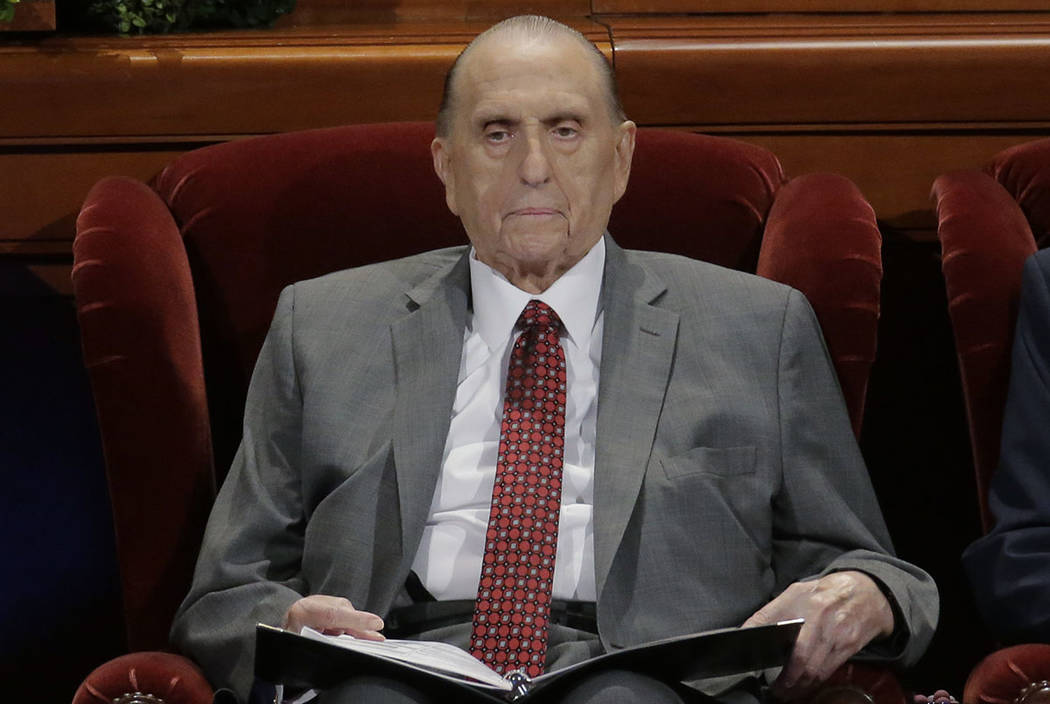 The Church of Jesus Christ of Latter-day Saints President Thomas S. Monson looks on during the morning session of the two-day Mormon church conference Saturday, April 1, 2017, in Salt Lake City. ( ...