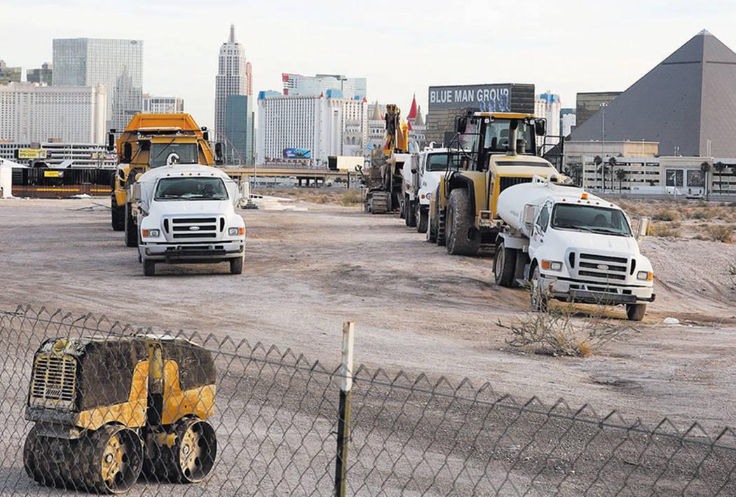 Heavy construction equipments and trucks inside the Raiders stadium site, near Hacienda Avenue and Dean Martin Drive on Tuesday, Nov. 13, 2017, in Las Vegas. Bizuayehu Tesfaye/Las Vegas Review-Jou ...