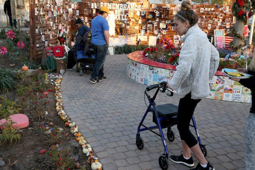 Katrina Hannah, 21, of La Verne, Calif., who was shot at the Route 91 harvest festival country music concert, visits the Healing Garden in downtown Las Vegas Thursday, Jan. 4, 2018. K.M. Cannon La ...