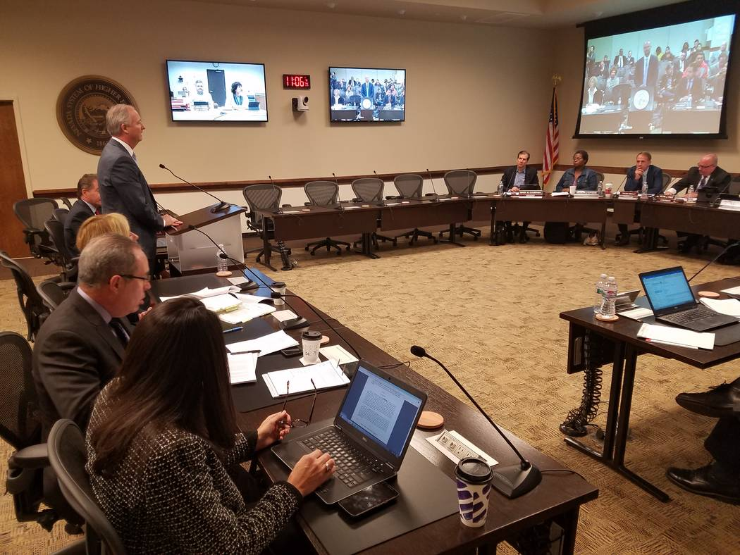 Steve Hill, chairman of the Las Vegas Stadium Authority, addresses the Nevada Board of Regents on the UNLV Joint-Use Agreement for use of the planned domed Las Vegas football stadium Thursday, Jan ...