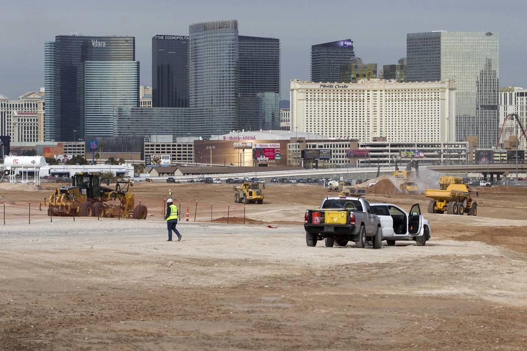 The site of the future Raiders football stadium in Las Vegas, Tuesday, Jan. 2, 2018. (Erik Verduzco/Las Vegas Review-Journal) @Erik_Verduzco