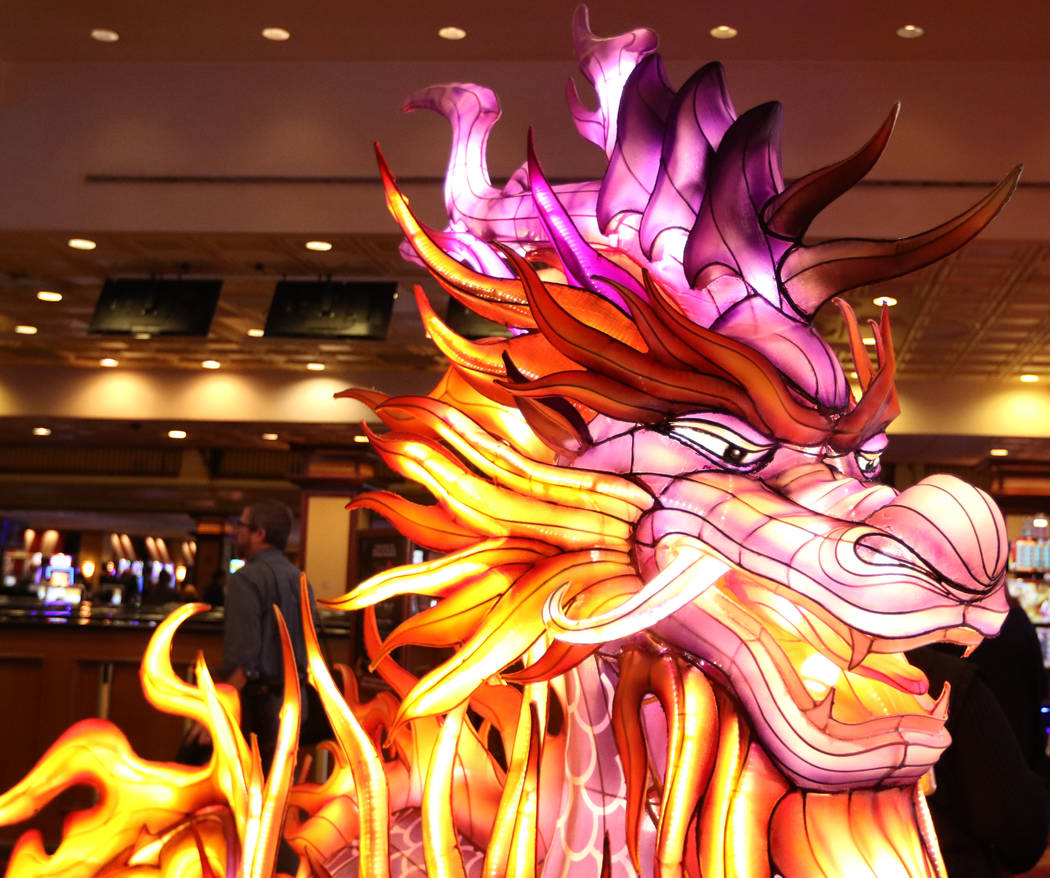 A 6-foot-tall Kylin Lantern is unveiled at the Gold Coast in Las Vegas, Thursday, Jan. 4, 2018, to preview the upcoming China Lights lantern festival coming to Craig Ranch Regional Park in North L ...