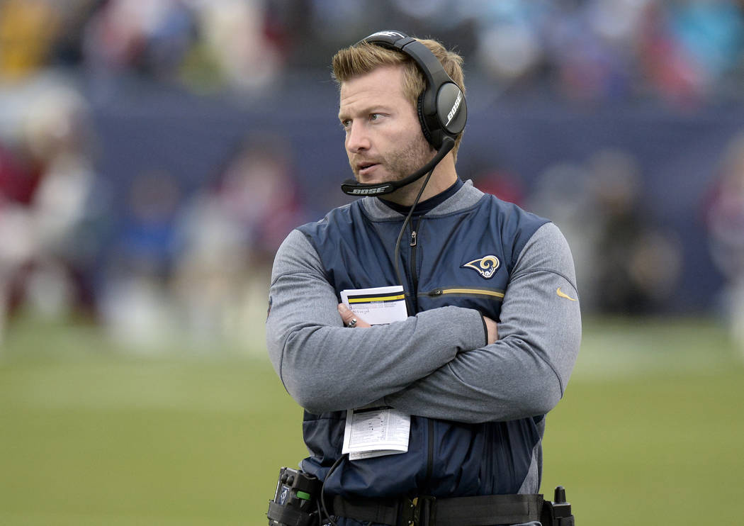 Los Angeles Rams head coach Sean McVay watches from the sideline in the first half of an NFL football game against the Tennessee Titans Sunday, Dec. 24, 2017, in Nashville, Tenn. (AP Photo/Mark Za ...