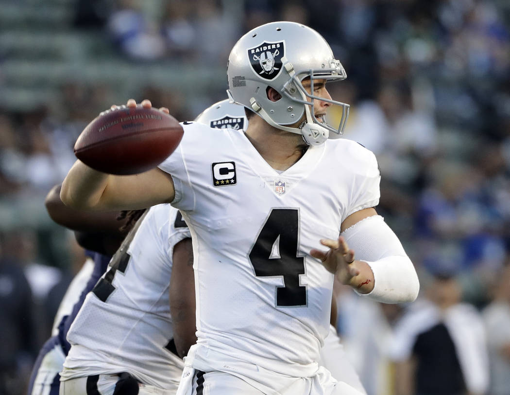 Oakland Raiders quarterback Derek Carr (4) pulls back to pass against the Los Angeles Chargers during the second half of an NFL football game Sunday, Dec. 31, 2017, in Carson, Calif. (AP Photo/Ale ...