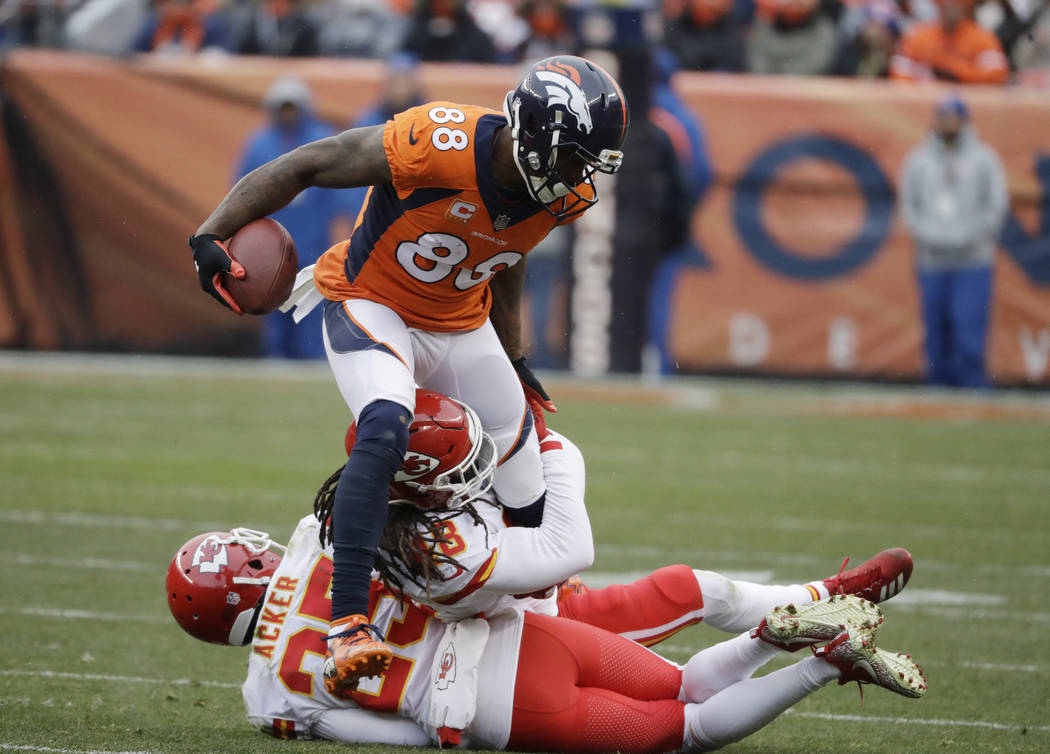 Denver Broncos wide receiver Demaryius Thomas (88) in action against the Kansas City Chiefs during the first half of an NFL football game Sunday, Dec. 31, 2017, in Denver. (AP Photo/Jack Dempsey)