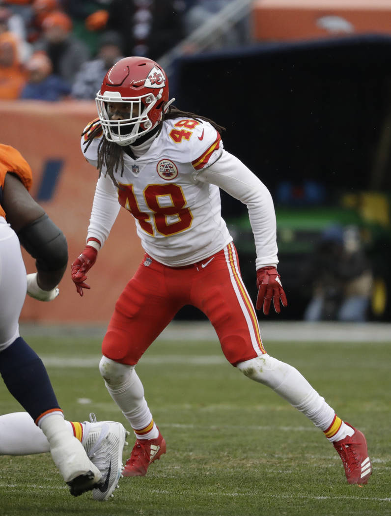 Kansas City Chiefs inside linebacker Terrance Smith (48) during the first half of an NFL football game against the Denver Broncos Sunday, Dec. 31, 2017, in Denver. (AP Photo/Jack Dempsey)