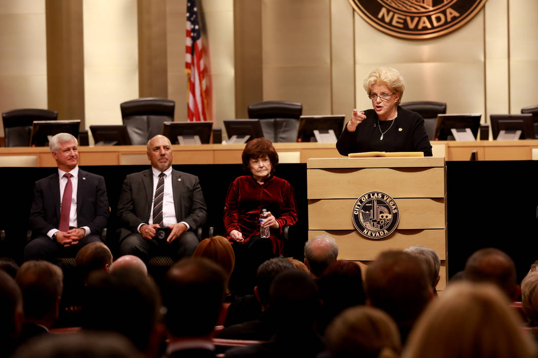 Mayor Carolyn Goodman welcomes the crowd during her State of the City address at the Las Vegas City Council chambers in Las Vegas, Jan. 11, 2018. Andrea Cornejo Las Vegas Review-Journal @dreacornejo
