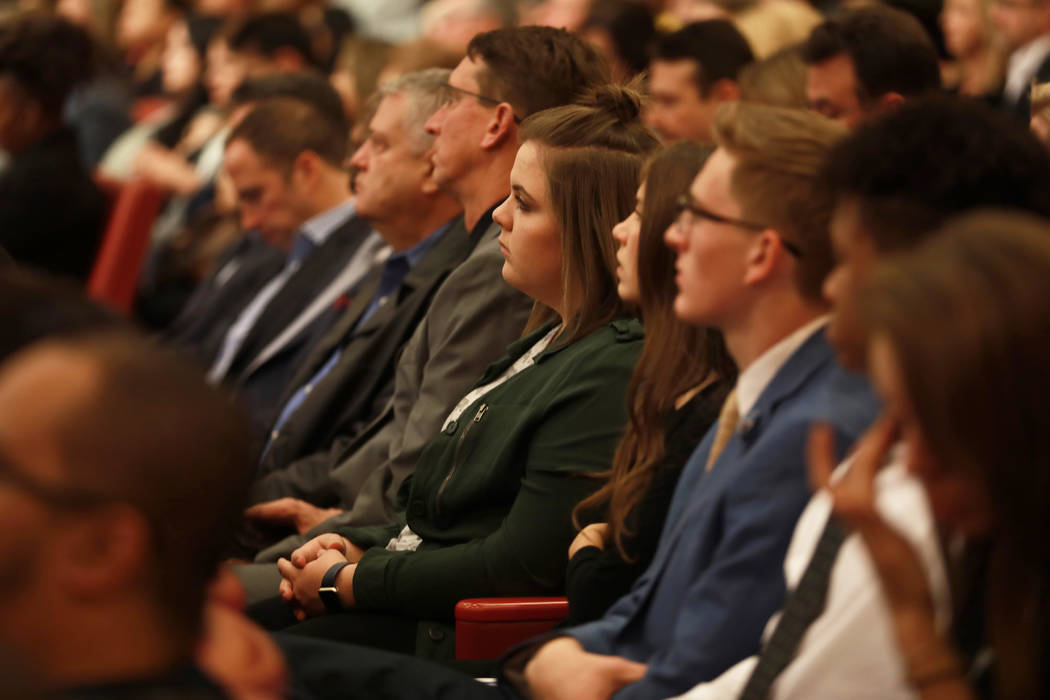 Attendees listen to Mayor Carolyn Goodman speak during her State of the City address at the Las Vegas City Council chambers in Las Vegas, Jan. 11, 2018. Andrea Cornejo Las Vegas Review-Journal @dr ...