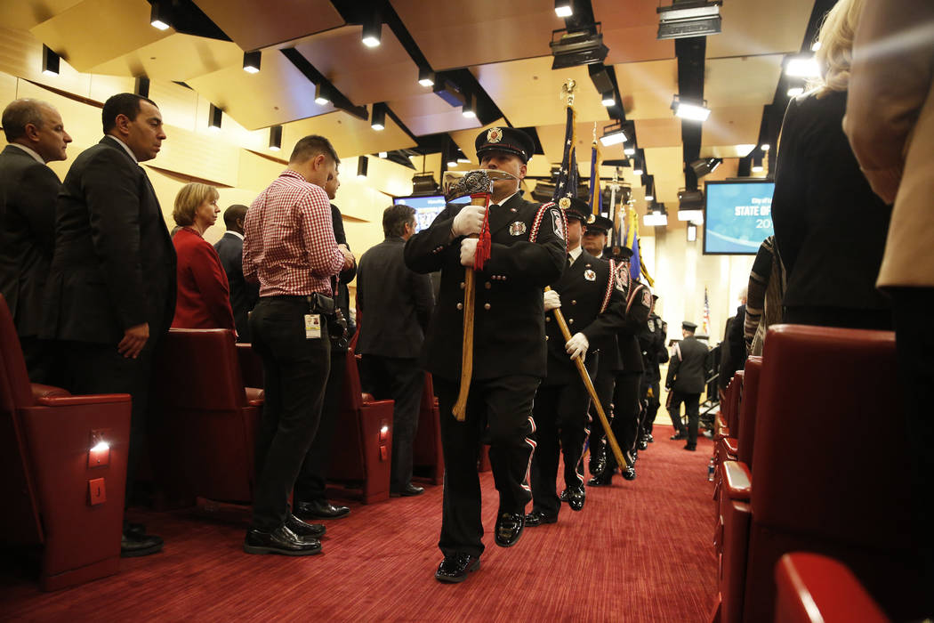 Las Vegas Firefighters Honor Guard perform before Mayor Carolyn Goodman's State of the City address at the Las Vegas City Council chambers in Las Vegas, Jan. 11, 2018. Andrea Cornejo Las Vegas Rev ...