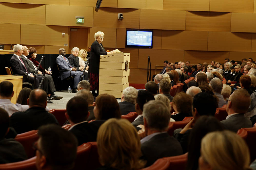 Mayor Carolyn Goodman addresses the crowd for her State of the City address at the Las Vegas City Council chambers in Las Vegas, Jan. 11, 2018. Andrea Cornejo Las Vegas Review-Journal @dreacornejo