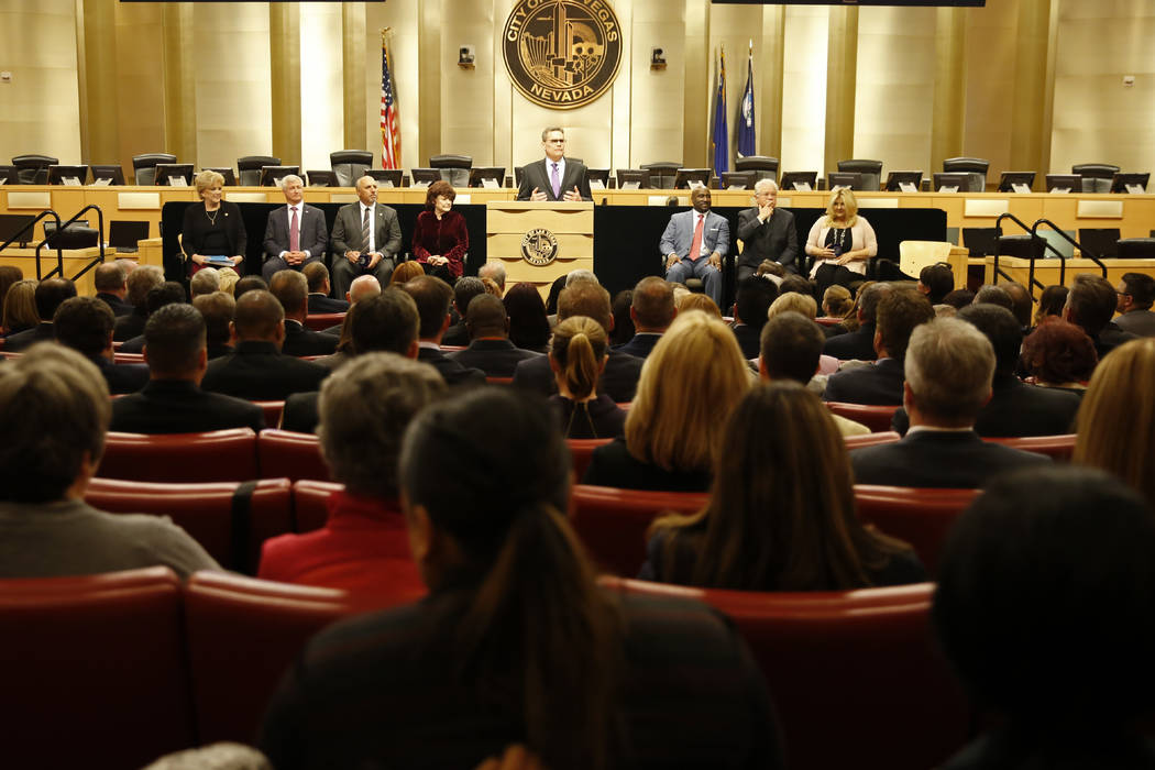 Deputy City Manager Scott Adams addresses the crowd before Mayor Carolyn Goodman's State of the City address at the Las Vegas City Council chambers in Las Vegas, Jan. 11, 2018. Andrea Cornejo Las  ...